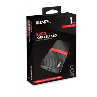 Emtec 1TB External SSD Gen1 X200 USB 3.1 Portable ΣΚΛΗΡΟΙ ΔΙΣΚΟΙ Dimex.gr-Αναλώσιμα Υπολογιστών,Γραφική ύλη,Μηχανές Γραφείου