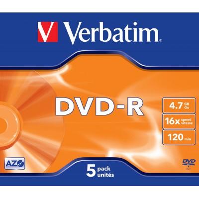 DVD-R Verbatim 16X 120/4.7G Jewel 5TEM. DVD R / DVD RW