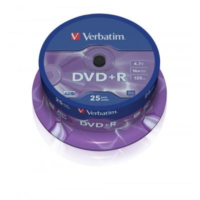 DVD+R Verbatim 16X 120/4.7G Spindle 25TEM. DVD R / DVD RW
