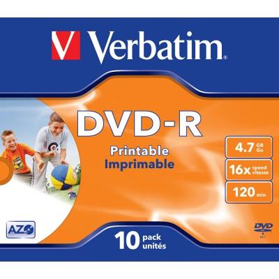 DVD-R Verbatim 16X 120/4.7G Jewel Printable 10TEM. DVD R / DVD RW