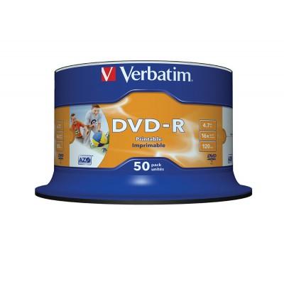 DVD-R Verbatim 16X 120/4.7G Spindle Printable DVD R / DVD RW