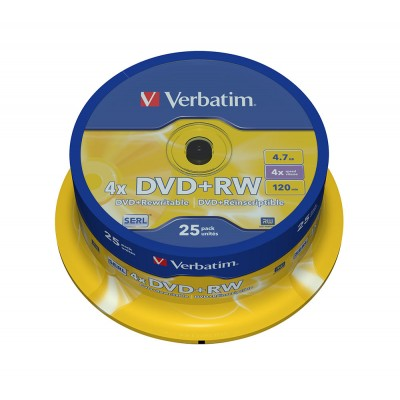 DVD+RW Verbatim 4X 120/4.7G Spindle 25TEM. DVD R / DVD RW