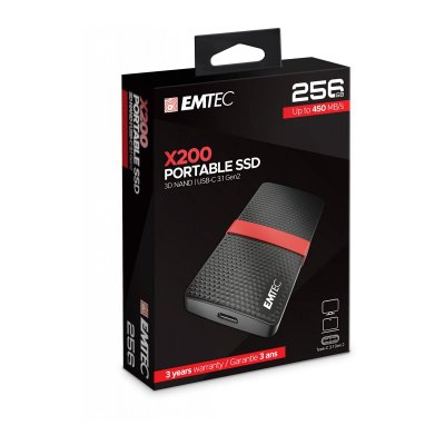 Emtec 256GB External SSD Gen1 X200 USB 3.1 Portable  ΣΚΛΗΡΟΙ ΔΙΣΚΟΙ Dimex.gr-Αναλώσιμα Υπολογιστών,Γραφική ύλη,Μηχανές Γραφείου